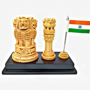 Elegant Pen Holder with Ashok Pillar & National Flag