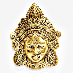 Metal Wall Hanging Maa Kali Durga (Golden) - Pack of 2pc