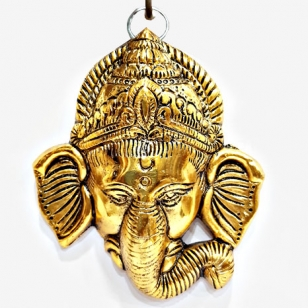 Wall Hanging Metal Ganesh Head (Golden) - Pack of 2pc