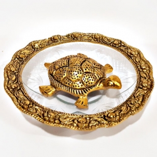 Feng Shui Metal Tortoise with Glass Bowl