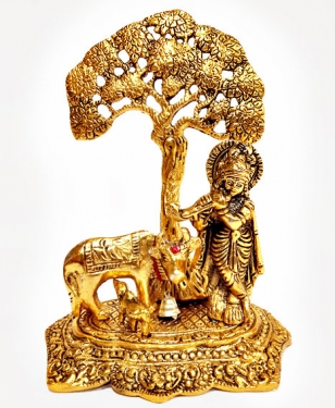 Metal Krishna & Cow under Tree