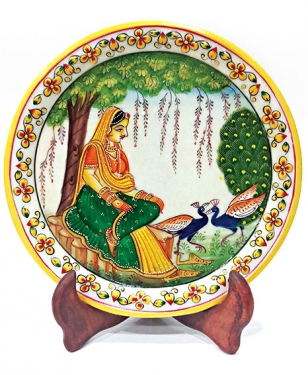 Marble painting – Sitting lady with 2 Peacock