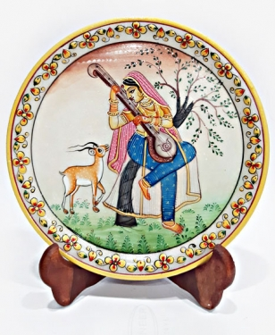 Veena Lady Painting on Marble Plate