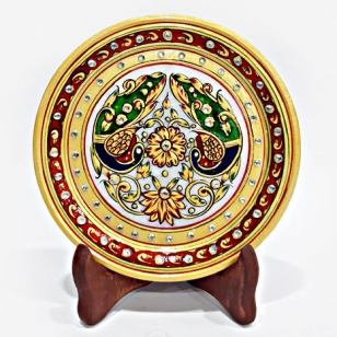Floral Painting on Decorative Marble Plate (15cm Diameter)