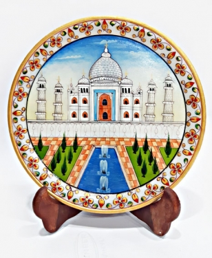 Taj Mahal Painting on Decorative Marble Plate