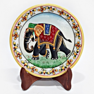 Elephant Painting on Marble Thali (15cm Diameter)
