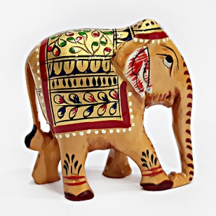 Wooden Painted Elephant 8cm