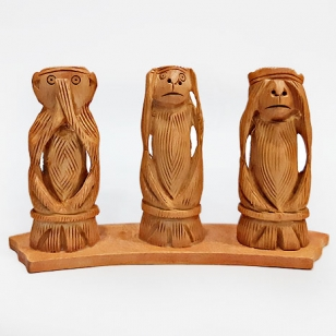 Wooden Monkey Set (13cm Height)