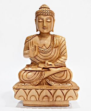 Wooden Fine Carved Buddha Statue (20cm Height)