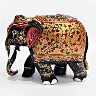 Wooden Embossed Painted Elephant (Black) - 10cm Height