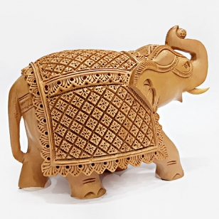 Wooden Carved Elephant (18cm x 13cm)