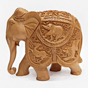 Wooden Shikar Carved Elephant Statue (15cm Height)