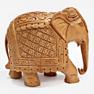 Wooden Floral Carved Elephant (10cm Height)