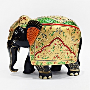 Wooden Painted Elephant (Black) - 10cm Height