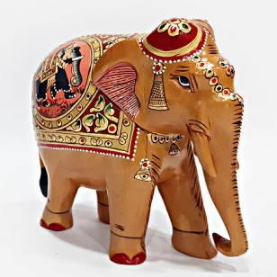 Wooden Painted Elephant Figure 15 cm