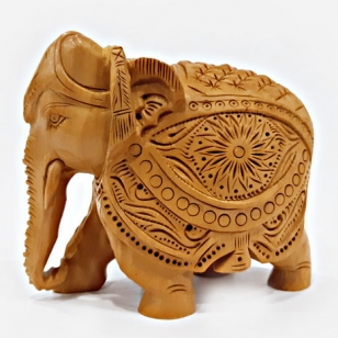 Wooden Etching Elephant - 10cm Height