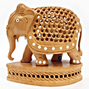 Wooden Inlaid Elephant - 13cm Height