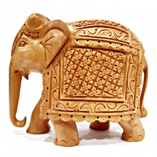 Wooden Floral Carved Elephant - 15cm Height