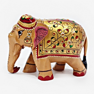 Wooden Emboss Painted Elephant - 8cm Height
