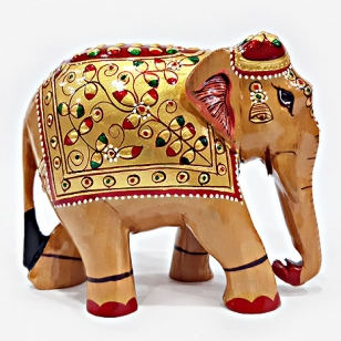 Wooden Embossed Painted Elephant - 10cm Height