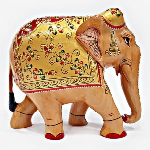 Wooden Embossed Painted Elephant - 13cm Height