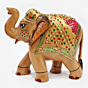 Wooden Painted Elephant - 15cm Height