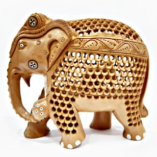 Wooden Jali Pattern Elephant (15cm Height)