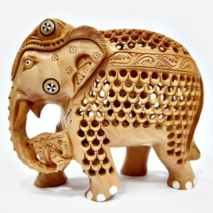 Beautiful Wood Carving Elephant (13cm Height)
