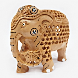 Wooden Jali Pattern Elephant (10cm Height)
