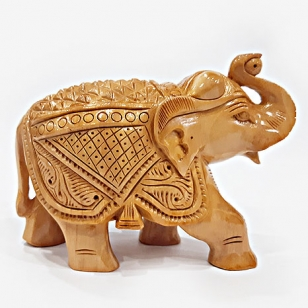 Wood Carving Salute Elephant