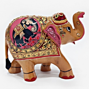 Wooden Figure Painted T/U Elephant 10cm