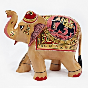 Wooden Figure Painted T/U Elephant 13cm
