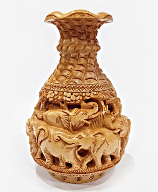 Wooden Elephant Carving Pot