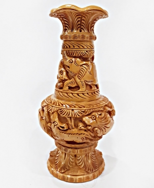Wooden Carved Pot - 20cm Height