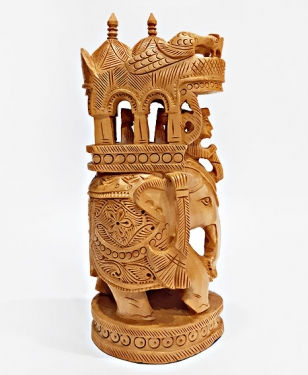 Wooden Carved Round Ambari Elephant