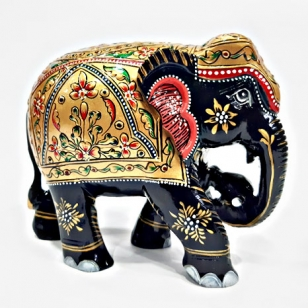 Elegant Wooden Elephant Painted