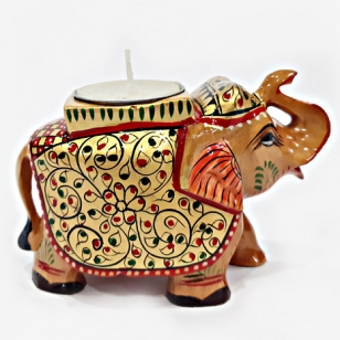 Wooden Elephant Painted - Candle Holder
