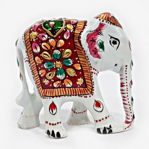 Handmade White Elephant Painted