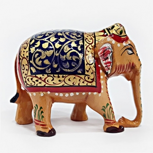 Wooden Fine Painted Elephant - 6.5cm Height