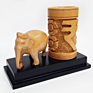Rupee Symbol Pen Stand with Elephant Statue