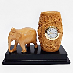Wooden Pen Holder with Clock & Elephant Idol