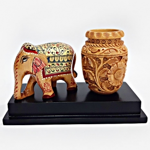 Wooden Elephant Painted & Pen Holder