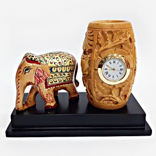 Wooden Clock, Pen Holder & Painted Elephant