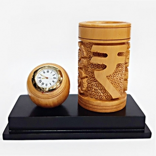 Wooden Carved Pen Holder & Clock