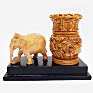 Wooden Carved Elephant  & Pen Stand