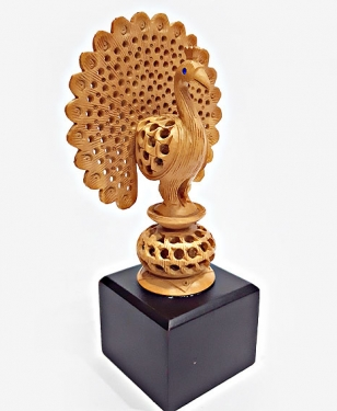 Wood Carving Peacock on base