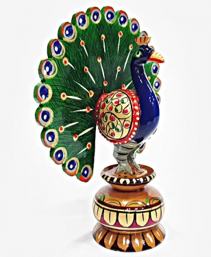 Wooden Dancing Painted Peacock - 15cm Height