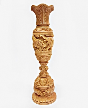 Wooden Carved Flower Vase - 25cm Height