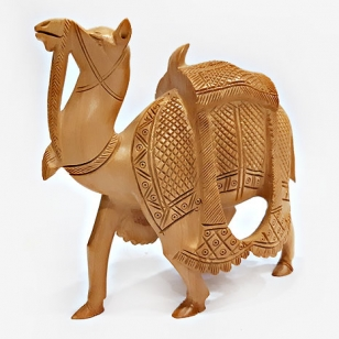 Wooden Carved Kathidar Camel -13cm Height