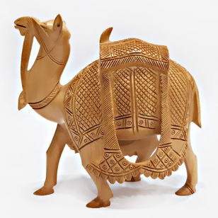Wooden Kathidar Carved Camel - 15cm Height